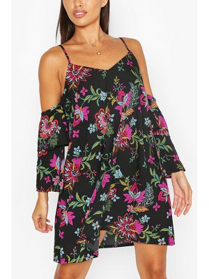 Boohoo Floral Strappy Cold Shoulder Smock Dress