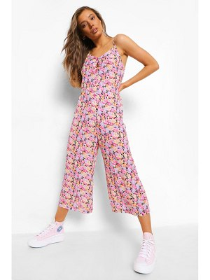 Boohoo Floral Strappy Culotte Jumpsuit