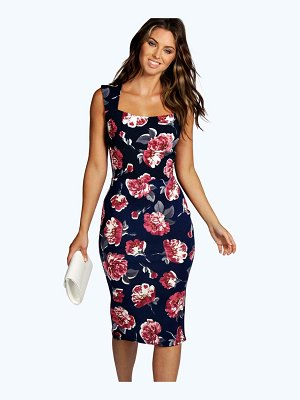 Boohoo Floral Sweetheart Midi Dress