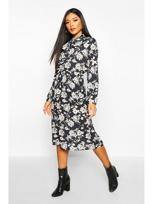 Boohoo Floral Tie Neck Midi Dress