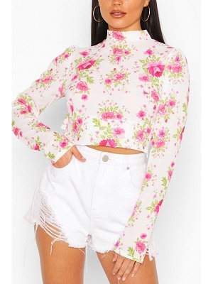 Boohoo Floral Woven Ruffle Open Back Crop Top