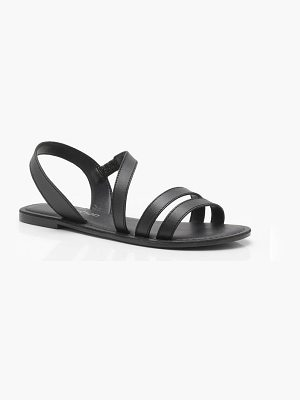Boohoo Florence Leather Three Band Sandals