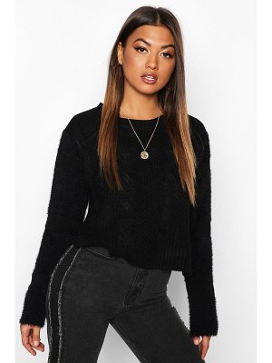 Boohoo Fluffy Sleeve Cable Knit sweater