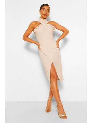 Boohoo Frill Edge Wrap Over Midi Dress
