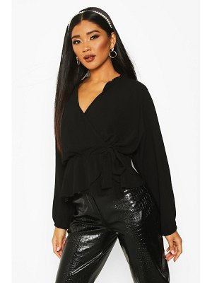 Boohoo Frill Neck Wrap Over Blouse