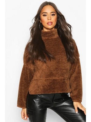 Boohoo Funnel Neck Top With Side Vents In Teddy Fleece