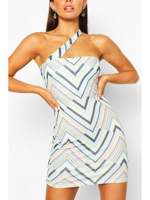 Boohoo Geo Print One Shoulder Mini Dress