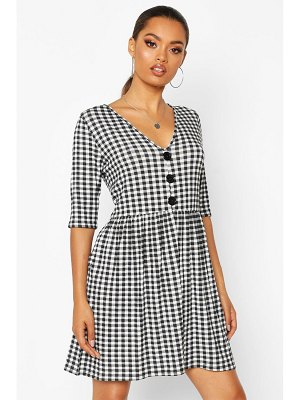 Boohoo Gingham Button Front Swing Dress