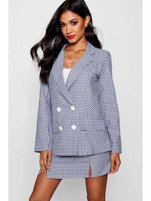 Boohoo Gingham Double Breasted Blazer