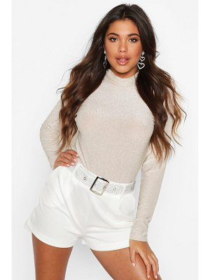 Boohoo Glitter Roll Neck Top