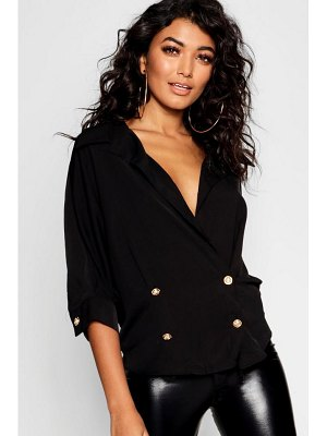 Boohoo Gold Button Double Breasted Wrap Shirt