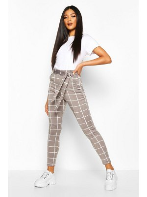 Boohoo Grid flannel Trouser With Tie Waist