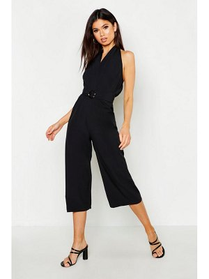 Boohoo Halter Neck O Ring Culotte Jumpsuit
