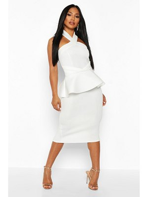 Boohoo Halterneck Peplum Bodycon Midi Dress