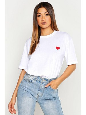 Boohoo Heart Embroidered T-Shirt