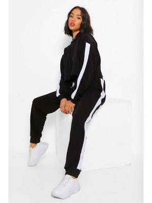 Boohoo Her Contrast Panelled Crop Hooded Tracksuit
