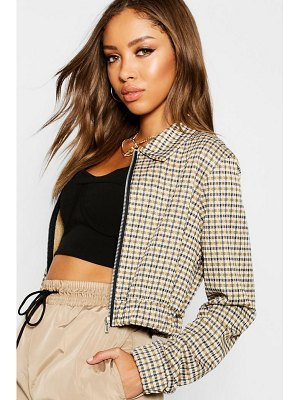 Boohoo Heritage Check Cropped Bomber