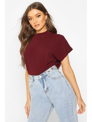Boohoo High Neck Cap Sleeve Soft Rib Top