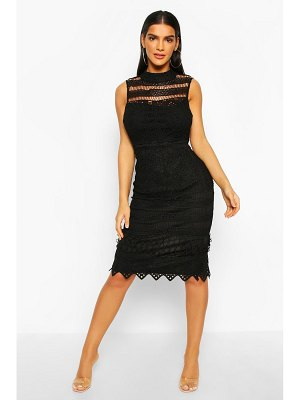 Boohoo High Neck Crochet Lace Bodycon Midi Dress