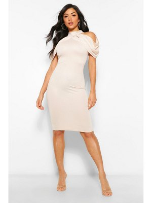 Boohoo High Neck Draped Cold Shoulder Midi Dress