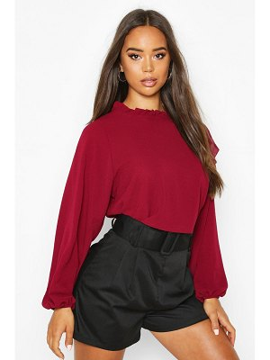 Boohoo High Neck Frill Detail Long Sleeve Top
