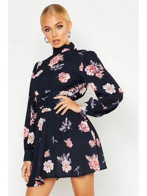 Boohoo High Neck Gathered Floral Skater Dress