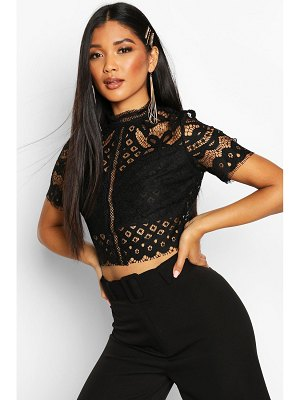 Boohoo High Neck Lace Cropped Top