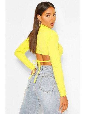 Boohoo High Neck Lace Up Back Long Sleeve Top