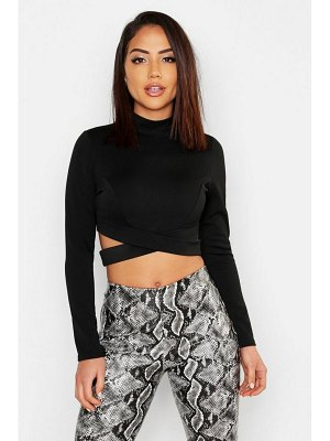 Boohoo High Neck Long Sleeve Cut Out Crop