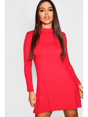 Boohoo High Neck Long Sleeved Swing Dress