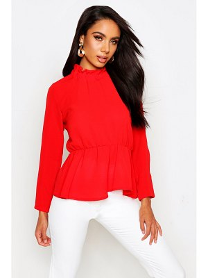 Boohoo High Neck Peplum Hem Blouse