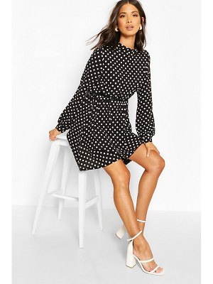 Boohoo High Neck Polka Dot Skater Dress