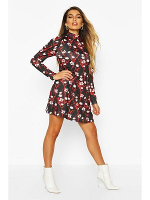 Boohoo Floral High Neck Puff Sleeve Swing Dress