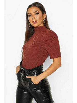 Boohoo High Neck Puff Sleeve Top