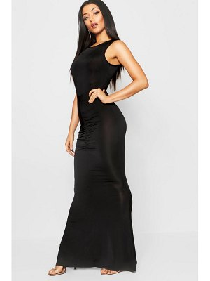 Boohoo High Neck Ruched Detail Fishtail Maxi Dress