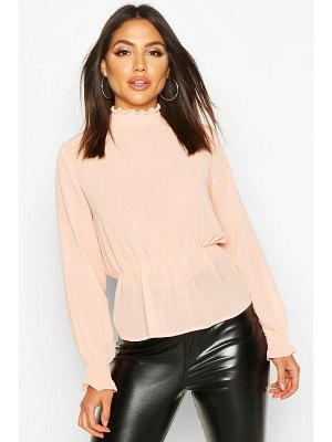 Boohoo High Neck Sheered Peplum Detail Blouse