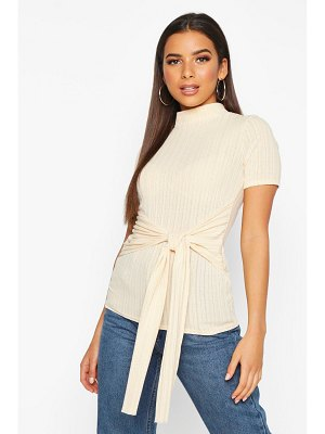 Boohoo High Neck Short Sleeve Soft Rib Top
