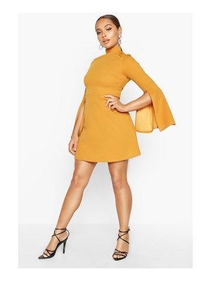 Boohoo High Neck Split Sleeve Skater Dress