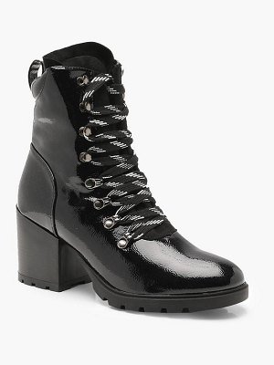 Boohoo High Patent Chunky Hiker Boots