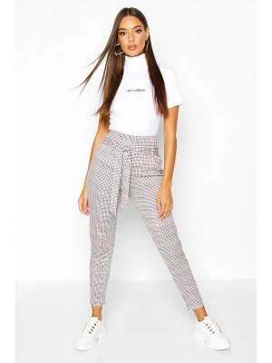 Boohoo High Waist Belted Dogtooth Tailored Trouser