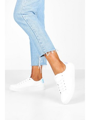 Boohoo Holographic Panel Basic Lace Up Flat Sneakers