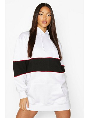 Boohoo Hooded Contrast Panel Sweatshirt Dress