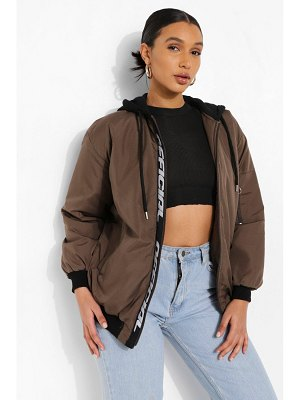 Boohoo Hooded Official Tape Oversized Bomber Jacket