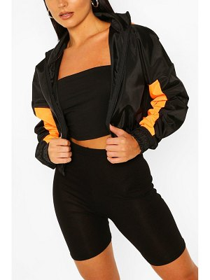 Boohoo Hooded Panelled Crop Windbreaker