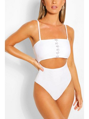 Boohoo Hook And Eye Cut Out Bathing Suit