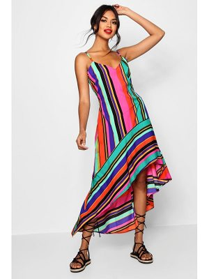 Boohoo Isabelle Asymmetric Bold Stripe Maxi Dress
