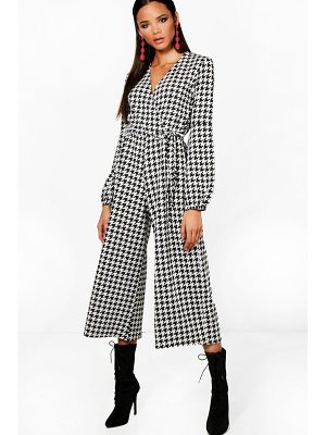 Boohoo Wrap Balloon Sleeve Dogtooth Culotte Jumpsuit