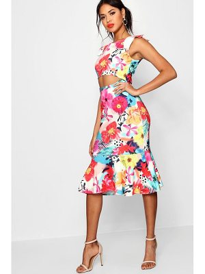 Boohoo Jodie Floral Cut Out Detail Flute Hem Midi Dress