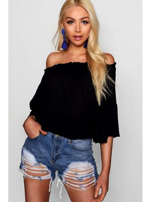 Boohoo Off The Shoulder Top With Flared Sleeve