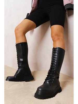Boohoo Knee High Chunky Hiker Boots